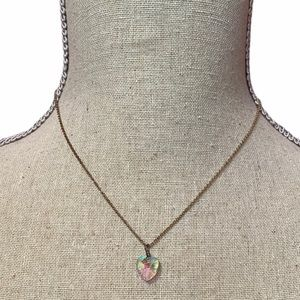 Iridescent Heart Crystal Dainty Necklace